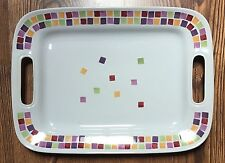 Pampered Chef Simple Additions Large Handled Serving Platter Multicolor Squares