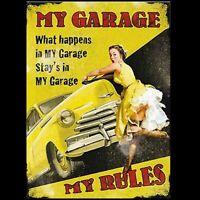 FUNNY GIFT IDEA FOR MEN DAD HUSBAND BOYFRIEND GARAGE RULES WALL DOOR SIGN PLAQUE