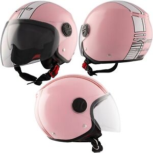 Helmet Jet Motorcycle Sun Pink Visor Double Approved ECE White Graphics