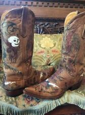 Old Gringo Boots Rare Limited Ed Hellfire Rockstar Skull Painted Embroidery 10.5
