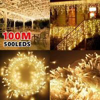500LED 100M Fairy String Lights Warm White Christmas Curtain Waterproof Wedding