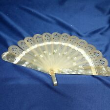 Antique Vintage Art Deco Pierced Celluloid Hand Fan Floral 4""