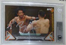 Benson Henderson Signed UFC 2016 Topps Knockout 5x7 Gold Card BAS Beckett COA 10