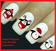 Christmas Nail Art Decals Water Transfers Wraps Stickers Penguin Santa #2041