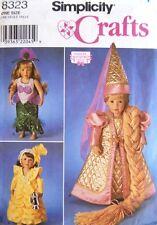 "Simplicity 8323 18"" Girl Doll Clothes Pattern Rapunzel Mermaid Costume Uncut"