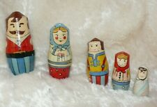 Nesting Dolls Family ~ Father Mother Brother Sister Baby ~ Lilian Vernon ~ 1988