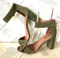 Jeffrey Campbell Heel Sandals olive Suede Ankle Strap 9 NEW