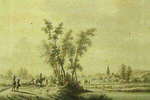 *1770 Nicolaas Wicart (Dutch, 1748-1815) Ink & Wash Landscape, Leskmond Town