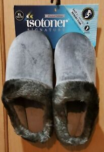 Totes Isotoner Limited Edition Ash Velour 360°  Memory Foam Hoodback Slippers XL