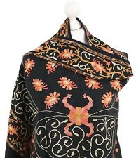 Black Indian Shawls Hand Embroidered Stole Scarf Winter 100% Pashmina Wool Shawl