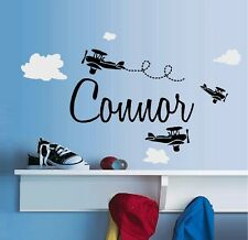 Planes with (Custom) Name, and White Clouds ~ Wall  Decal
