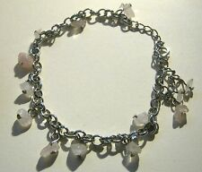 Bracelet silver tone metal chain with opaque stone decoration 7.5 - 10.5 ins