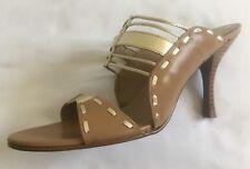 Spiegel Gold Dark Tan Caged Sandals Heels Shoes Size 8.5 M