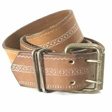 "Vintage 70's 80's Leather Belt Western Double Prong Brass 1.5"" 38� Boho Hippie"