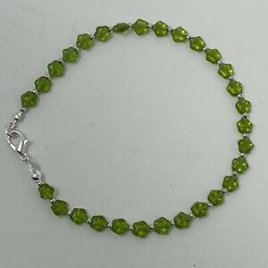 """Handmade Anklet Olive Green Czech Glass Star Beads Silver Tone Spacers 10"""" Long"""