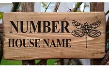 Personalised Dragonfly Sign Plate Plaque House Cottage Garden Gate Name Door