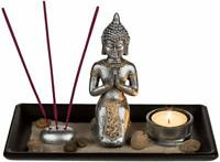 Buddha on Wooden Plate, with Glass-tealight holder, 3 incense Sticks & Holder