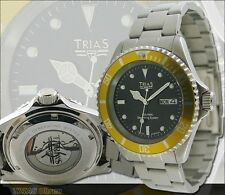Trias Watches Aviator Military Wristwatch Stainless Steel Arm Band Men's