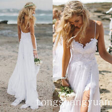 2017 Beach Wedding Dresses Spaghetti Lace Chiffon Bridal Gowns In Stock All Size