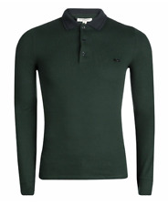 BURBERRY LONDON Long Sleeve Anderton Polo Shirt, Bottle Green/Black, Large $477