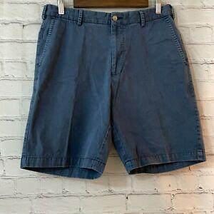 Peter Millar 32 Mens Blue Flat Front Slash Pockets Casual Cotton Chino Shorts