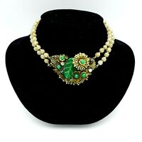 VINTAGE MIRIAM HASKELL BEADED GREEN ART GLASS RHINESTONE NECKLACE (FOR REPAIR)