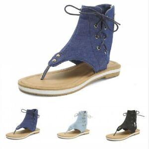 Womens Roman Gladiator Lace Up Sandals Flats Summer Flip Flop Beach Shoes Size