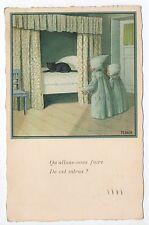 Animal CHAT cat cats carte par illustrateur P. EBNER chat dans le lit et enfants