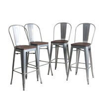 """4× Metal Steel Bar Stools 30"""" Counter Chairs Barstool High Back Wooden Silver"""