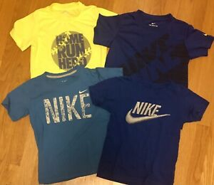 Lot Of 4 Boys Nike Short Sleeve Dry Fit T Shirt Blue Yellow Size 6/7