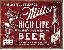 Miller Brewing High Life Bottle Beer Bound to Please Retro Decor Metal Tin Sign