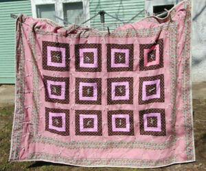 Handmade Quilt Brown Pink Retro Polka Dot Daisy Mod Hippie Boho 63 x 75