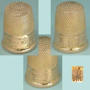 Antique 14 Kt Gold Scenic Engraved Thimble by Carter, Gough & Co. * Circa 1890s