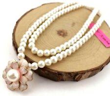 Women Jewelry Betsey Johnson Fashion Vintage petal pearl double flower chain