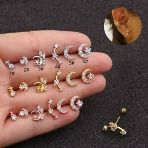 Zircon Stone Inlaid Cartilage Earrings Tragus Helix Cartilage Piercing Ear Stud