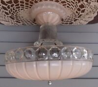 Vintage Pink Glass Shade Art Deco Ceiling Light Fixture Chandelier Antique
