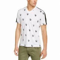 INC Mens T-Shirt Skull-Print White Size Large L Graphic Tee V-Neck $29- 357