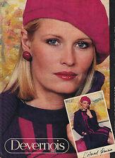 PUBLICITE ADVERTISING  1984    DEVERNOIS  manteau maille & robe jacquard