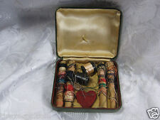Old Vintage sewing thread Little Kit with case & Heart Pin Cushion