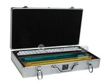 American Mahjong Set - White/Blue Tiles, All-in-One Pusher, Silver Aluminum Case