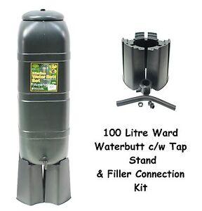 Ward Garden Green Plastic 100 Litre Water Butt Kit - Stand Tap & Connection Set