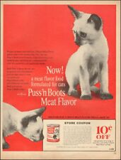Vintage ad for Puss `n Boots Cat food`Coupon Siamese Cats kittens     100718