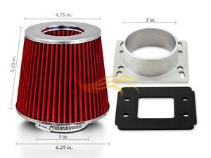 AIR INTAKE MAF Adapter + RED FILTER For 90-97 Mazda Miata MX5 1.6 1.8