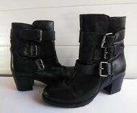 Clarks Fernwood Lake Womans 8.5M Black Leather Biker Bootie Side Zip Ankle Boots