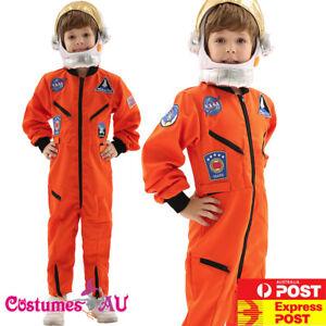 Boys Astronaut Costume Orange Space Man NASA Suit Uniform Child Kids Book Week