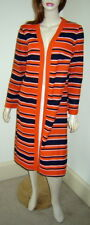 Vintage PLW Orange/Navy Stripe Open Front Cardigan Jacket House Coat (12) NWT