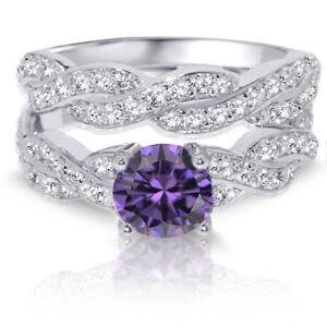 Brilliant Round Infinity Amethyst Engagement Wedding Silver Ring Set 3.08 Ctw