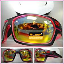 WRAP AROUND SPORT Motorcycle Riding Driving Fishing SUN GLASSES Black Pink Frame