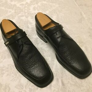Moreschi Italy Soft Peccary Leather Black Lace Dress Shoes, Size 11