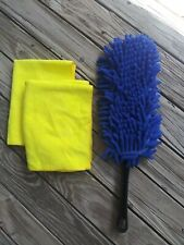 💖Simple Houseware Soft Microfiber Car Dash Duster Brush & 2Pc Cleaning Towels💖